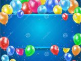 Happy Birthday Banner Blue Background Balloons On Blue Background with Banner Stock Vector
