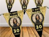 Happy Birthday Banner Blue Gold Personalised Black Gold Happy 18th 21st 30th 40th