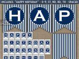 Happy Birthday Banner Blue Printable Happy Birthday Banner Navy Blue White Stripe Nifty