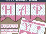 Happy Birthday Banner Blue Printable Printable Happy Birthday Banner Pink Blue Polka Dots