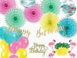 Happy Birthday Banner Cake topper Diy 26pcs Flamingo Decoration Set Balloons Pineapple Garland
