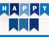 Happy Birthday Banner Cut Out Printable Banner Blue Happy Birthday Pretty Diy Decor Blue