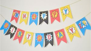 Happy Birthday Banner Diy Superhero Happy Birthday Banner Diy Superhero by