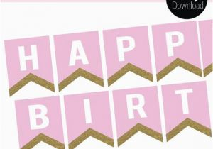 Happy Birthday Banner Download Pink and Gold Glitter Instant Download Happy Birthday Banner