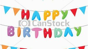 Happy Birthday Banner Drawing Vectors Illustration Of Happy Birthday with Hanging Flags