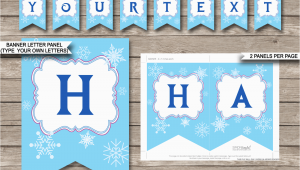 Happy Birthday Banner Editable Frozen Party Banner Template Birthday Banner Editable