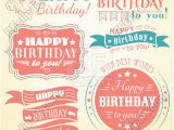 Happy Birthday Banner Eps Happy Birthday Retro Banners Labels Greeting Cards and
