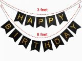 Happy Birthday Banner for Adults Black and Gold Party Decorations Perfect Adult Birthday