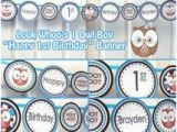 Happy Birthday Banner Free Printable Boy Unique Owl 1st Birthday Related Items Etsy