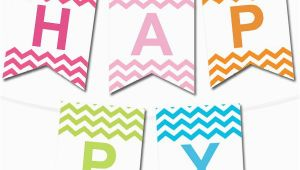 Happy Birthday Banner Generator Chevron Pennant Banner In 12 Colors Printables Happy