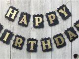 Happy Birthday Banner Gold and Black Happy Birthday Banner Birthday Banner Black and Gold