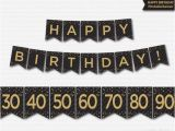 Happy Birthday Banner Gold and Black Happy Birthday Banner Printable 30th 40th 50th 60th