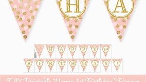 Happy Birthday Banner Gold and Pink Blush Pink Gold Glitter Happy 1st Birthday 60th Printable