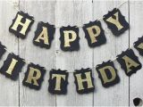 Happy Birthday Banner Gold Happy Birthday Banner Birthday Banner Black and Gold