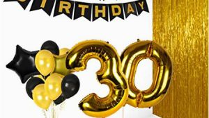 Happy Birthday Banner Golden 30th Birthday Decorations Happy Bday Banner Party Kit Pack