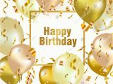 Happy Birthday Banner Golden Happy Birthday Celebration Background Gold Balloon Stock