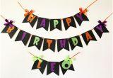 Happy Birthday Banner Halloween Halloween Party Sign Etsy