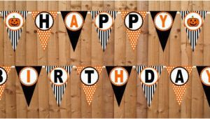 Happy Birthday Banner Halloween theme Halloween Happy Birthday Banner Diy Printable by