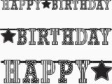 Happy Birthday Banner In Black and White 3 3m Classic Black White Happy Birthday Party Giant