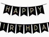 Happy Birthday Banner In Black and White Black and Gold Decorations Amazon Com
