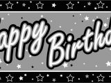 Happy Birthday Banner In Black and White Free Silver Birthday Cliparts Download Free Clip Art