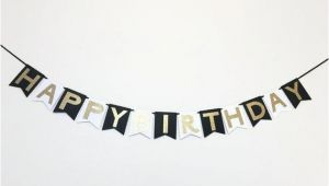 Happy Birthday Banner In Black and White Happy Birthday Banner In Black White and Gold by