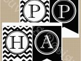 Happy Birthday Banner In Black and White Instant Download Printable Black and White Chevron by