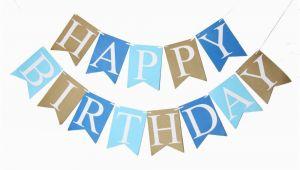 Happy Birthday Banner In Blue Biru Selamat Ulang Tahun Spanduk Bayi Laki Laki Ulang