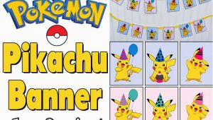Happy Birthday Banner In Japanese Free Pikachu Party Banner Printable for A Pokemon Party