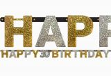 Happy Birthday Banner In Silver 30th Happy Birthday Letter Banner Black Silver Gold Party