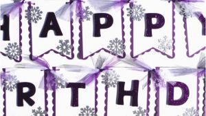 Happy Birthday Banner In Silver Happy Birthday Banner with Lots Of Silver Glitter Snowflakes