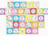 Happy Birthday Banner Individual Letters Digital Rainbow Happy Birthday Banner Printable Party