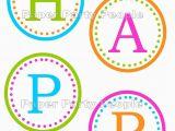 Happy Birthday Banner Individual Letters Happy Birthday Banner Printable Diy 3 5 Circles Favor