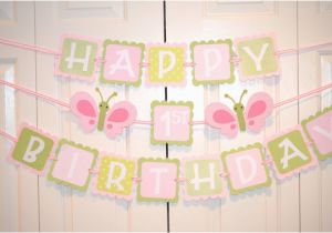 Happy Birthday Banner Inflatable butterfly Happy 1st Birthday Banner Birthday Party butterfly