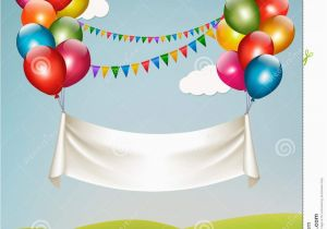 Happy Birthday Banner Inflatable Happy Birthday Banner with Balloons Stock Vector