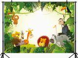 Happy Birthday Banner Jungle theme Capisco Jungle Safari Party Photo Background Animals