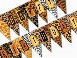 Happy Birthday Banner Jungle theme Safari Birthday Banner Happy Birthday Banner Jungle