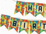 Happy Birthday Banner Lego Diy Happy Birthday Lego themed Banner Party Decoration