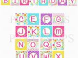 Happy Birthday Banner Letters Printable Diy Digital Girl Bright Happy Birthday Printable Party