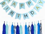 Happy Birthday Banner Lights Gold Pleated Happy Birthday Light Blue Banner 25pc