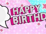 Happy Birthday Banner Lol Lol Speech Bubbles Happy Birthday Pink and Blue Design