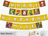 Happy Birthday Banner Maker Free Printable Super Mario Banner Super Mario Birthday Party