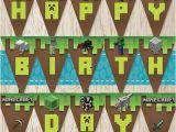 Happy Birthday Banner Minecraft Printable Birthday Banners Minecraft Party Favors and Minecraft On