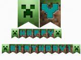 Happy Birthday Banner Minecraft Printable Edible Cake toppers Minecraft Downloadable Printable