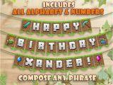 Happy Birthday Banner Minecraft Printable Pin On Eli 39 S 4th Bday Party