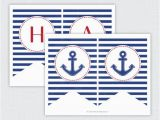 Happy Birthday Banner Nautical theme Instant Download Printable Anchor Quot Happy Birthday Quot Banner