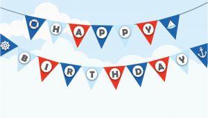 Happy Birthday Banner Nautical theme Nautical Birthday Bunting Sailor theme Decor Navy theme