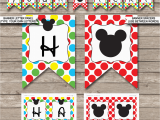 Happy Birthday Banner Online Editing Mickey Mouse Party Printables Invitations Decorations
