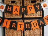 Happy Birthday Banner orange Argyle Happy Birthday Banner Halloween Autumn Birthday