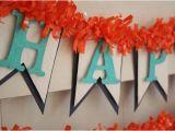 Happy Birthday Banner orange Blue and orange Birthday Banner Happy Birthday Banner